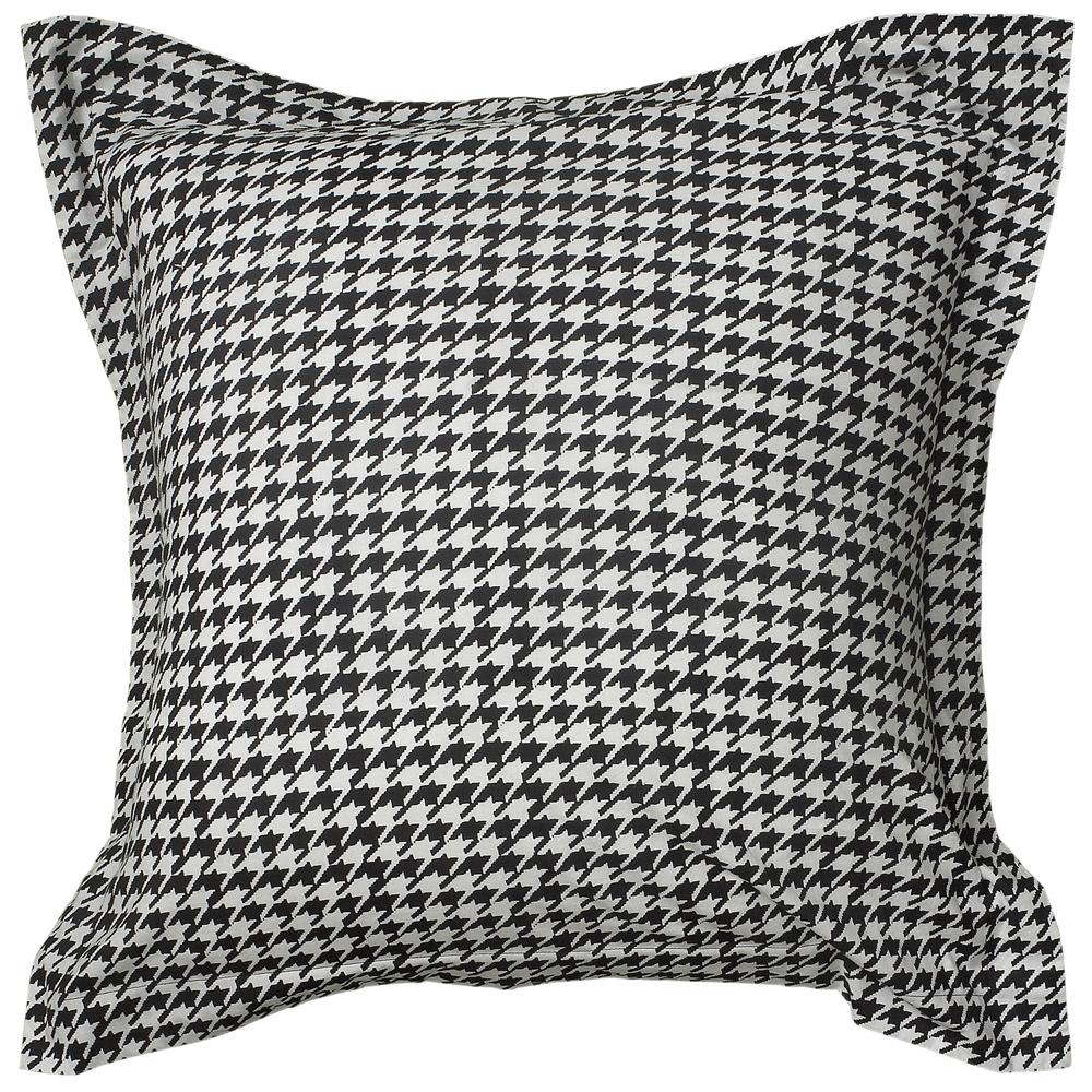 Rizzy Home BT1282 EURO This comforter is 100% Cotton and is designed in a plaid layout with the houndstooth design. The Shams are white with a black boarder.